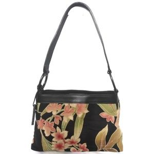 Fossil floral canvas and leather shoulder bag